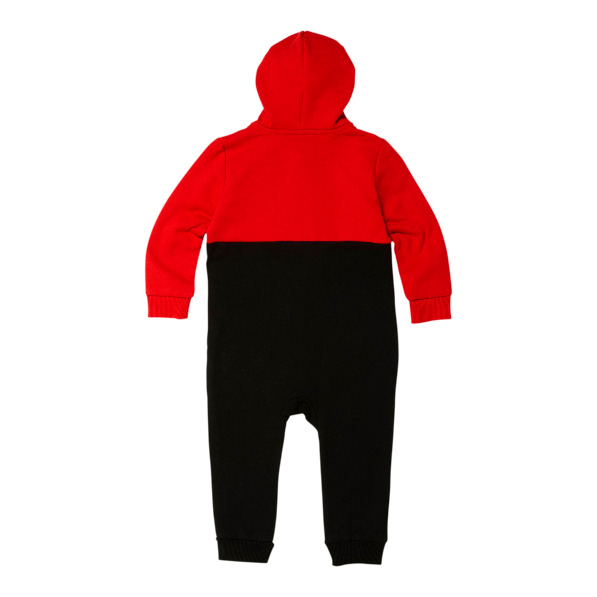 Thumbnail 2 of Colorblocked Fleece Infant Zip Up Hoodie Coverall, HIGH RISK RED, medium