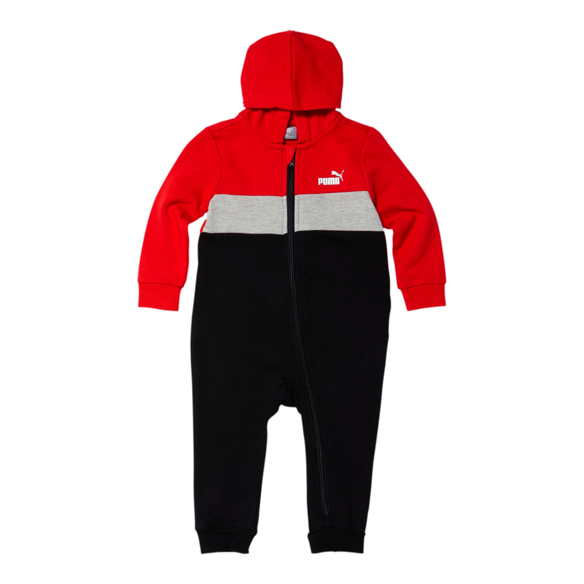 Thumbnail 1 of Colorblocked Fleece Infant Zip Up Hoodie Coverall, HIGH RISK RED, medium