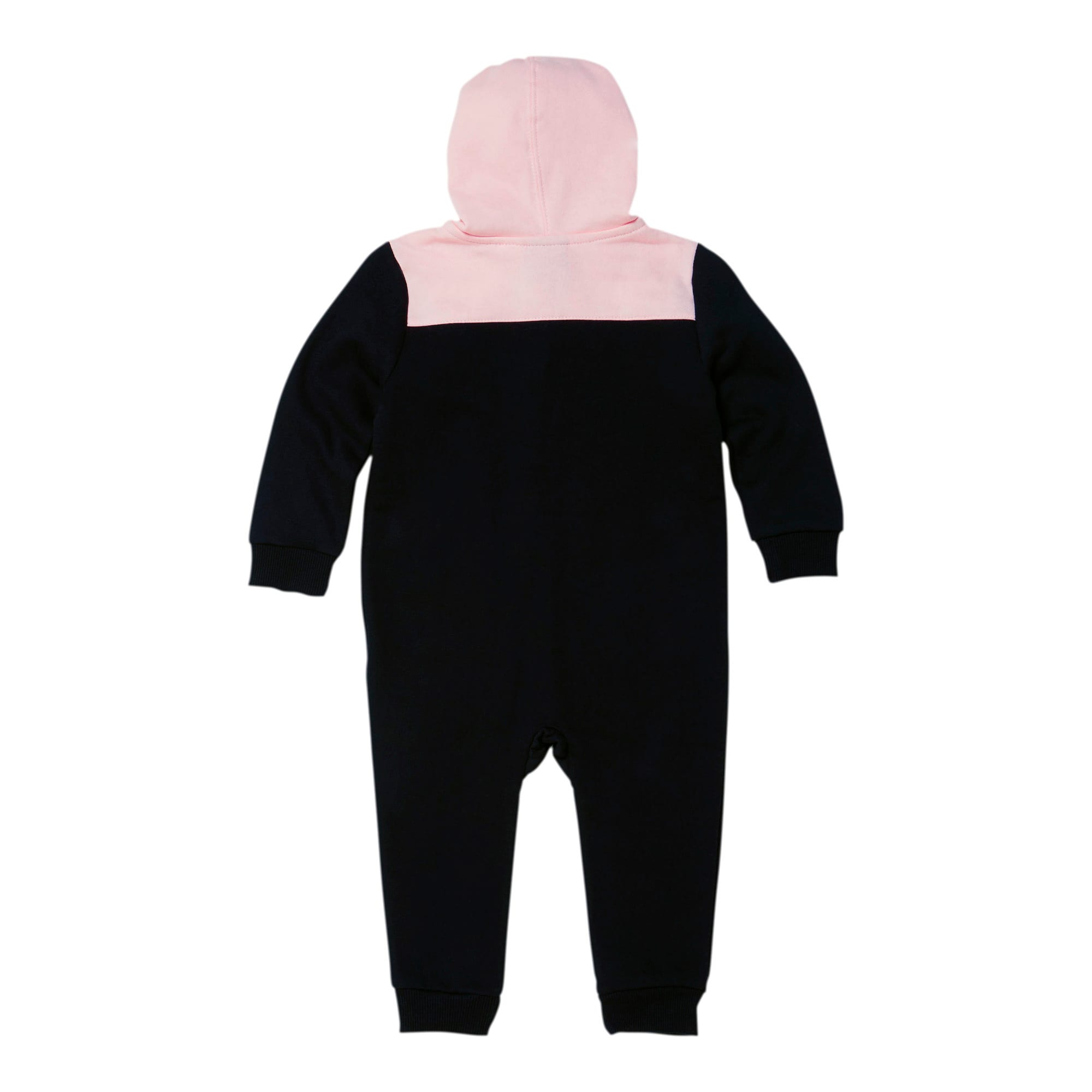 Thumbnail 2 of Colorblocked Fleece Infant Zip Up Hoodie Coverall, PUMA BLACK, medium