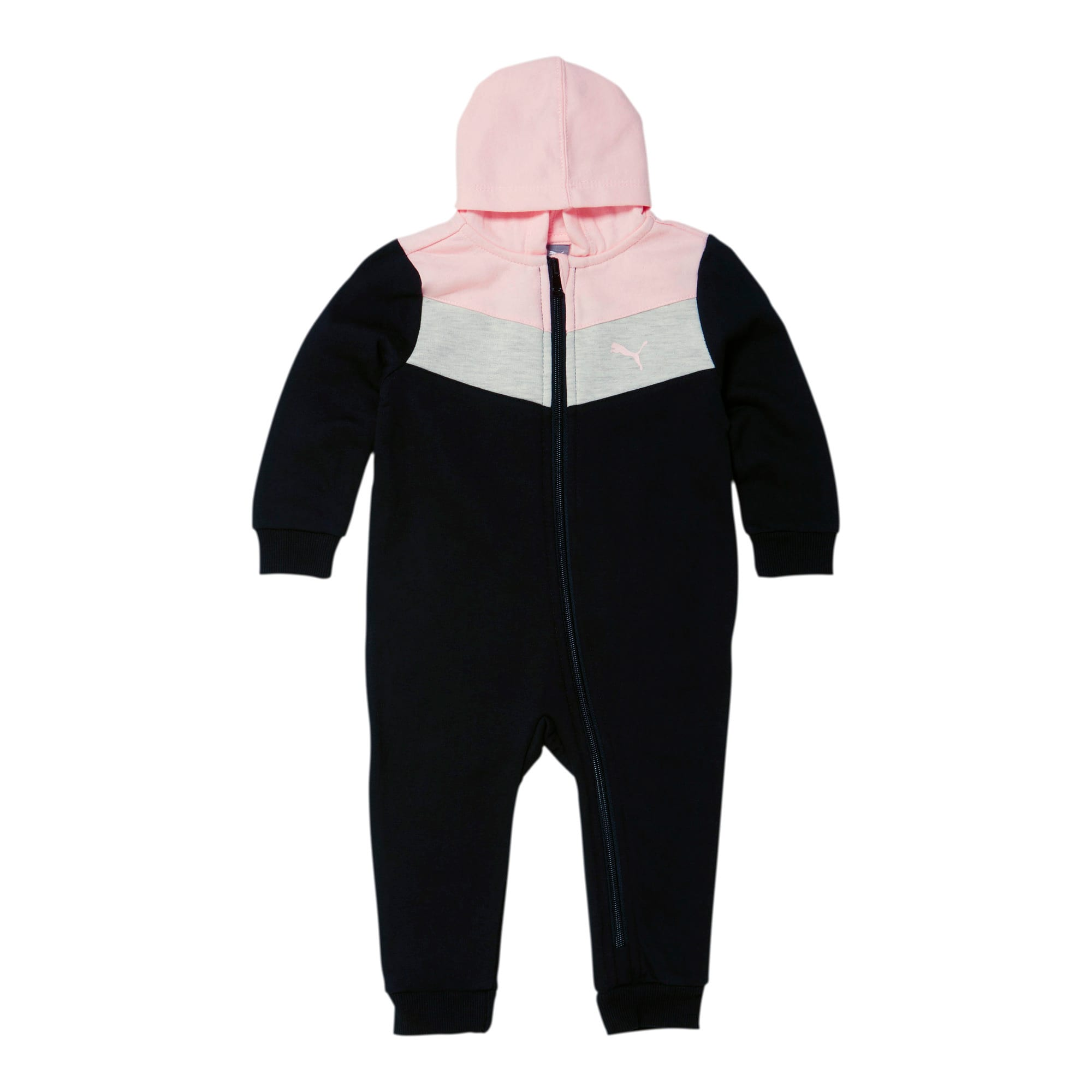 Thumbnail 1 of Colorblocked Fleece Infant Zip Up Hoodie Coverall, PUMA BLACK, medium