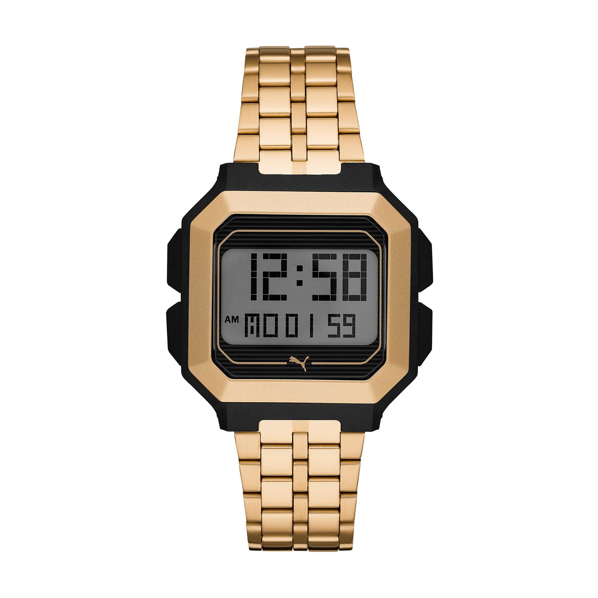 Thumbnail 1 of Remix Gold Stainless Steel Digital Watch, Gold/Black, medium