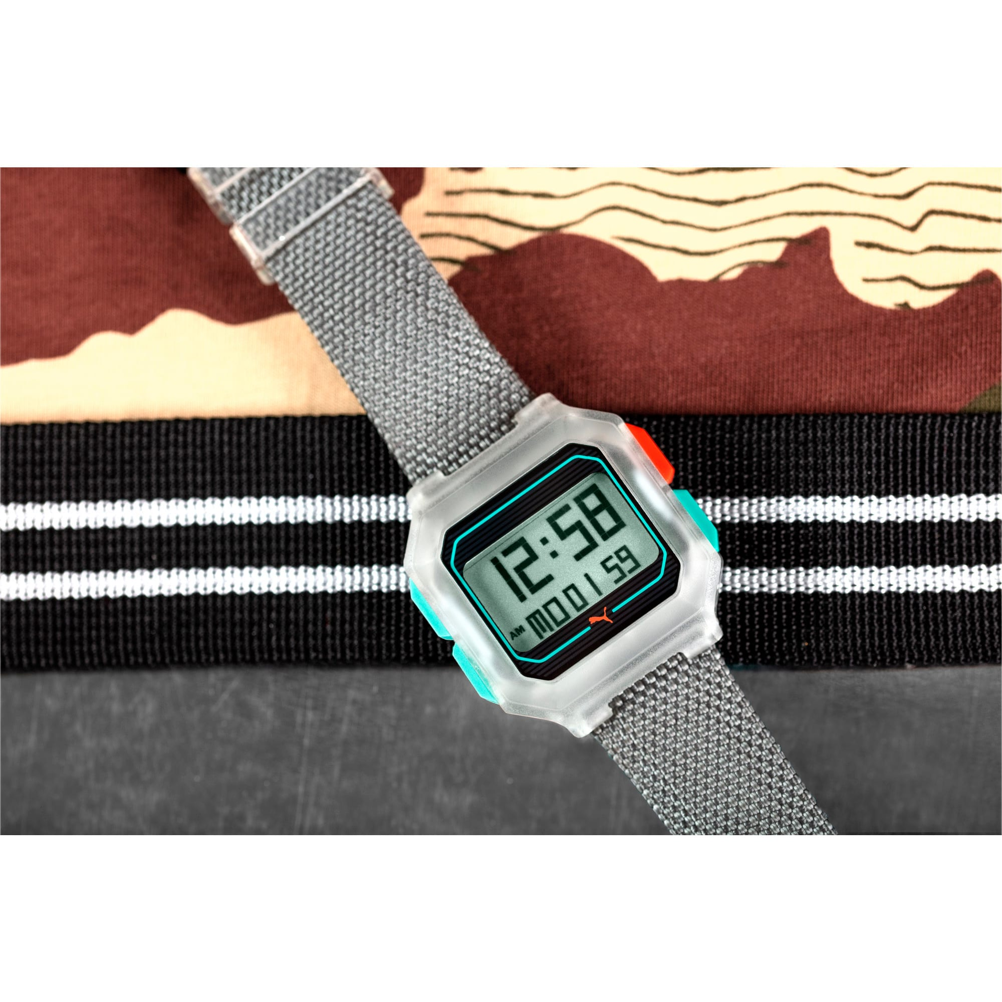 Thumbnail 5 of Remix Gray Nylon Digital Watch, Clear/Gray, medium