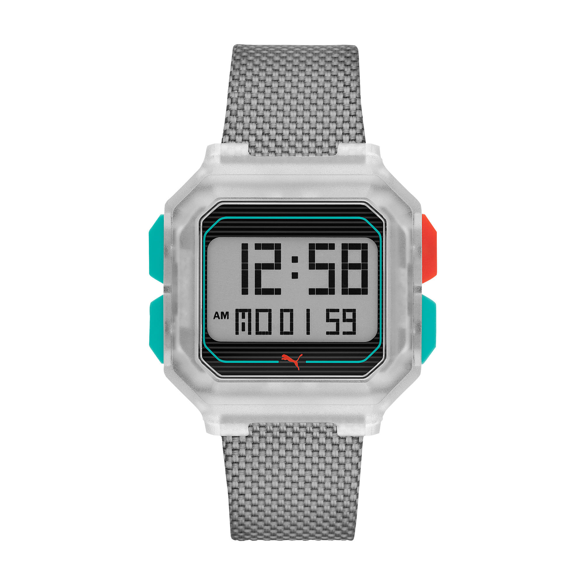Thumbnail 1 of Remix Gray Nylon Digital Watch, Clear/Gray, medium