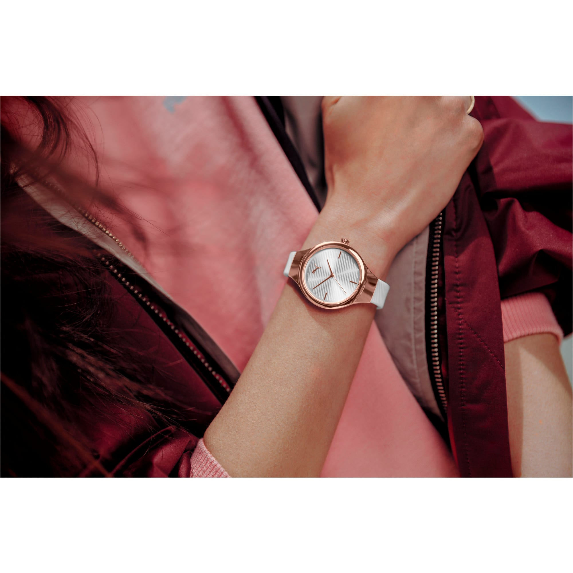 Thumbnail 5 of CONTOUR Ultra Slim Women's Watch, Rose gold/White, medium