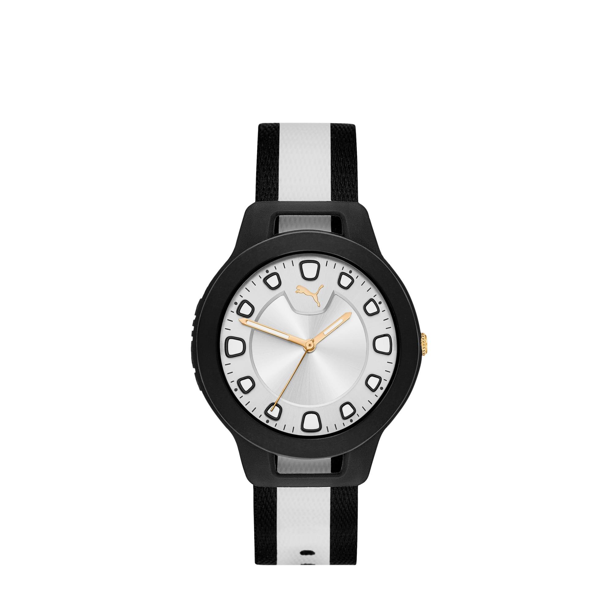 Thumbnail 1 of RESET V1 Woven Reversible Women's Watch, Black/White, medium