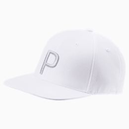P Snapback Hat, Bright White Heather, small
