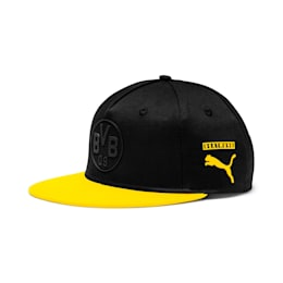 BVB flatbrim Fan Cap, Puma Black-Cyber Yellow, small
