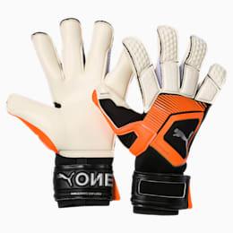 PUMA ONE Grip 1 Hybrid Pro Goalkeeper Gloves, White-Orange-Black-Silver, small