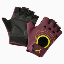 AT Women's Training Fingered Gloves, Vineyard Wine-Yellow Alert, small