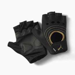 AT Women's Training Fingered Gloves, Puma Black-Metallic Gold, small-SEA