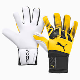 PUMA ONE Grip 1 Hybrid Pro Goalkeeper Gloves, ULTRA YELLOW-Black-White, small
