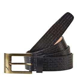 PUMA Leather Belt, black-brushed gold, small-IND