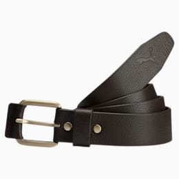 PUMA Style Leather Belt, chocolate brown-brushed gold, small-IND