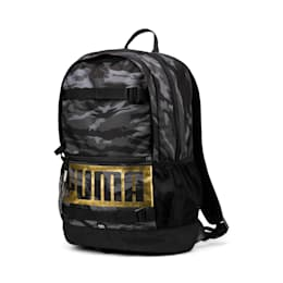 Deck Backpack, Puma Black-Gold-Camo AOP, small