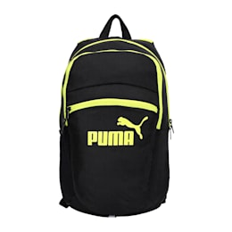 PUMA Tric Backpack, Puma Black-NRGY Yellow, small-IND
