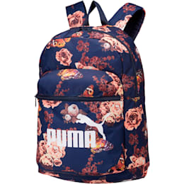 Puma Classic Cat Backpack, Peacoat-Flower AOP, small