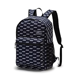 Academy Backpack, Peacoat-PUMA wording AOP, small-IND