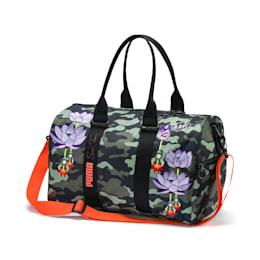 PUMA x SUE TSAI Women's Duffel Bag, Puma Black-AOP, small