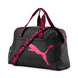 トレーニング AT エッセンシャル ウィメンズ ダッフル バッグ (30L), Puma Black-Pink Alert-AOP, small-JPN