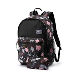 PUMA Academy Backpack Set, Puma Black-Floral AOP, small