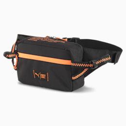 PUMA x FIRST MILE Running Waist Bag, Puma Black-Fizzy Orange, small