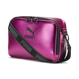 Bolsa de ombro Prime Small para mulher, Purple Wine-Black-metallic, small