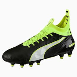 evoTOUCH PRO FG Men's Football Boots, black-white-safety yellow, small-IND
