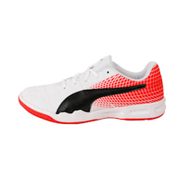 Veloz Indoor NG Kids' Training Shoes, White-Black-Flame Scarlet, small-IND