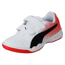 Veloz Indoor NG V Kids' Training Shoes, White-Black-Flame Scarlet, small-IND