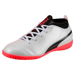 ONE 17.4 IT Kids' Indoor Training Shoes, White-Black-Coral, small-IND
