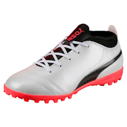 ONE 17.4 TT Kids' Football Boots, White-Black-Coral, small-IND