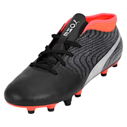 ONE 18.4 FG Kids' Football Boots, Black-Silver-Red, small-IND