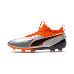 PUMA ONE 1 Leather FG/AG Men's Football Boots, Silver-Orange-Black, small-IND