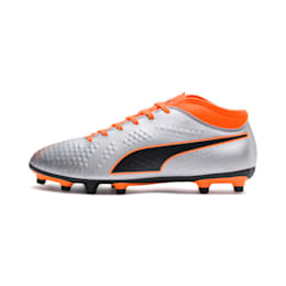 PUMA ONE 4 Synthetic FG Men's Football Boots, Silver-Orange-Black, small-IND