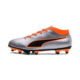 PUMA ONE 4 Synthetic FG Kids' Football Boots, Silver-Orange-Black, small-IND