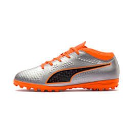 PUMA ONE 4 Synthetic IT Kid's Football Shoes, Silver-Orange-Black, small-IND