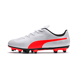 Rapido FG Youth Football Boots, White-Gray-Black-Red Blast, small-IND