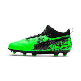PUMA ONE 19.3 FG/AG Youth Football Boots, Green Gecko-Black-Gray, small