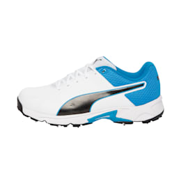 PUMA Spike 19.2 Men's Cricket Boots, White-Puma Black-Bleu Azur, small-IND