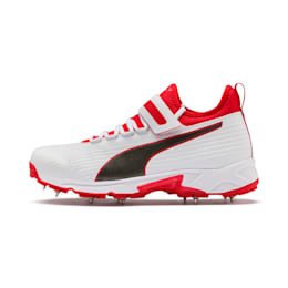PUMA 19.1 Bowling Men's Cricket Shoes, White-Black-High Risk Red, small-IND
