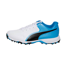 PUMA 19 FH Rubber Men's Cricket Shoes, Puma White-Bleu Azur-Black, small-IND