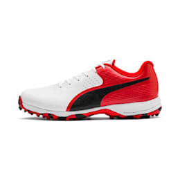 PUMA 19 FH Rubber Men's Cricket Shoes, White-Black-High Risk Red, small-IND