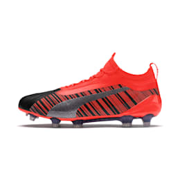 PUMA ONE 5.1 evoKNIT FG/AG Men's Football Boots, Black-Nrgy Red-Aged Silver, small-IND