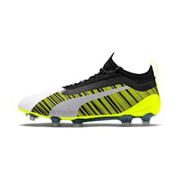 PUMA ONE 5.1 evoKNIT FG/AG fodboldstøvler til mænd, White-Black-Yellow Alert, small