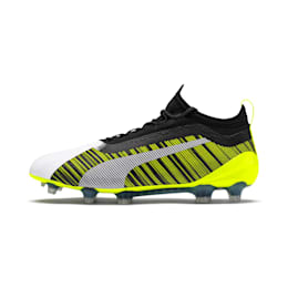 PUMA ONE 5.1 FG/AG Men's Soccer Cleats, White-Black-Yellow Alert, small