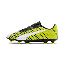 PUMA ONE 5.4 Men's FG/AG Football Boots, White-Black-Yellow Alert, small-IND