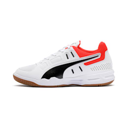 Auriz Youth Sneaker, White-Black-Nrgy Red-Gum, small