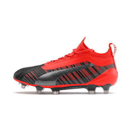 PUMA ONE 5.1 FG/AG Soccer Cleats JR, Black-Nrgy Red-Aged Silver, small