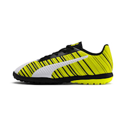 Chaussure de foot PUMA ONE 5.4 TT Youth, White-Black-Yellow Alert, small