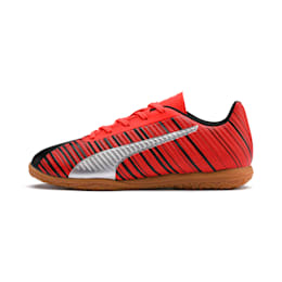 PUMA ONE 5.4 IT Soccer Shoes JR, Black-Red-Aged Silver-Gum, small